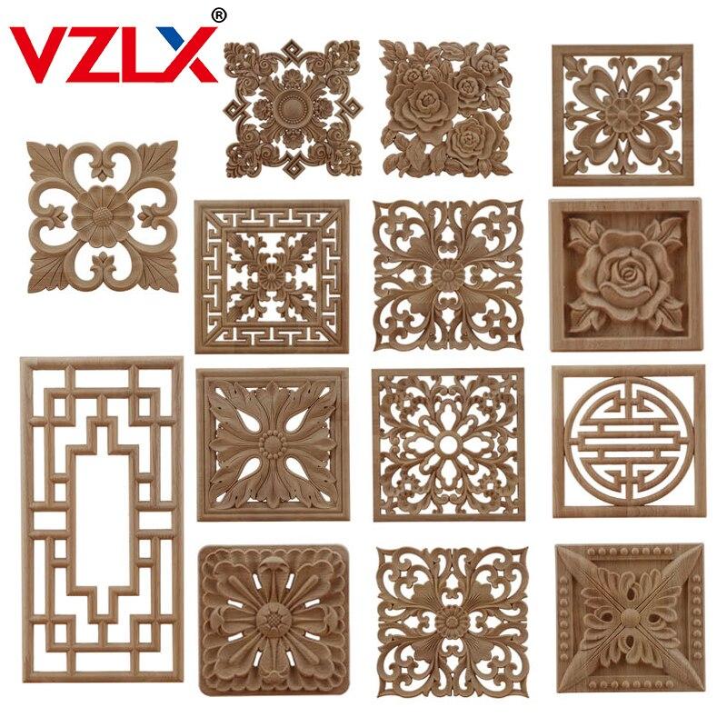 VZLX CAntique madera Calcomanía para madera talla líneas apliques de madera de rosa de decoración para el hogar, accesorios de gabinete de gran oferta