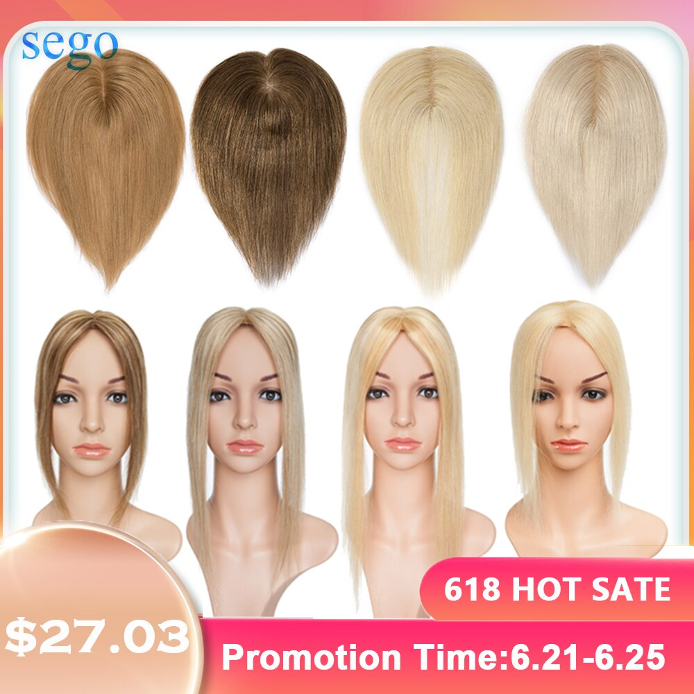 AliExpress - SEGO 6-22inch 6x9cm Straight Silk Base Hair Topper Human Hair Wig Toupee for Women Pure Color Non-Remy WomenToupee Hair System