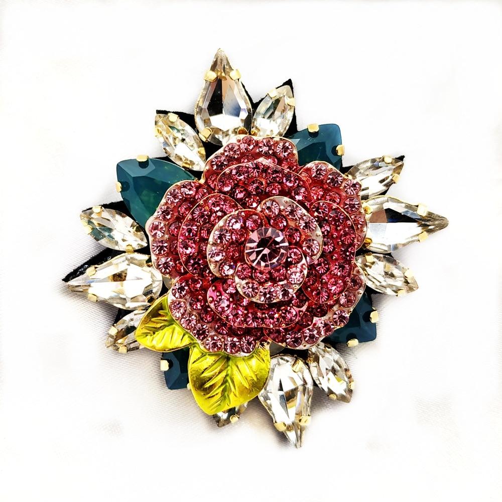 Estilo Vintage italiano fucsia broches de flor rosas tela espalda Multi hojas Cluster ornamentado Pines de rosas diseñador joyas con diseño de jardín