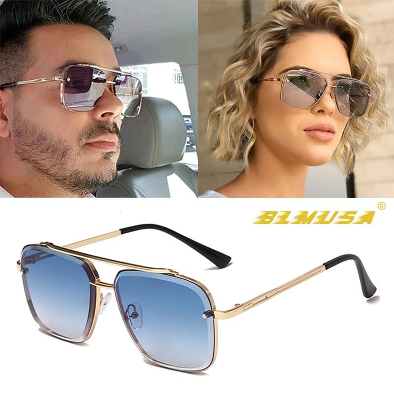 BLMUSA Fashion Classic Mach Six Gradient Sunglasses Cool Men Square Business  Shades For Men Vintage