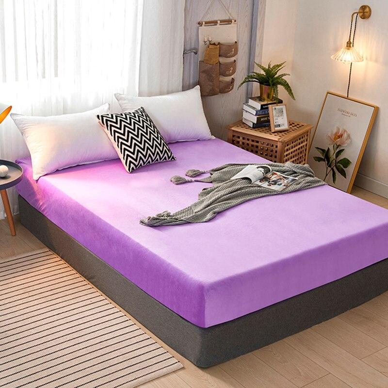 الكريستال المخملية المجهزة غطاء سرير ورقة مع أربطة مرنة أغطية سرير Sabanas غطاء مرتبة الصوف الدافئة مزدوجة زوجين الملك الحجم