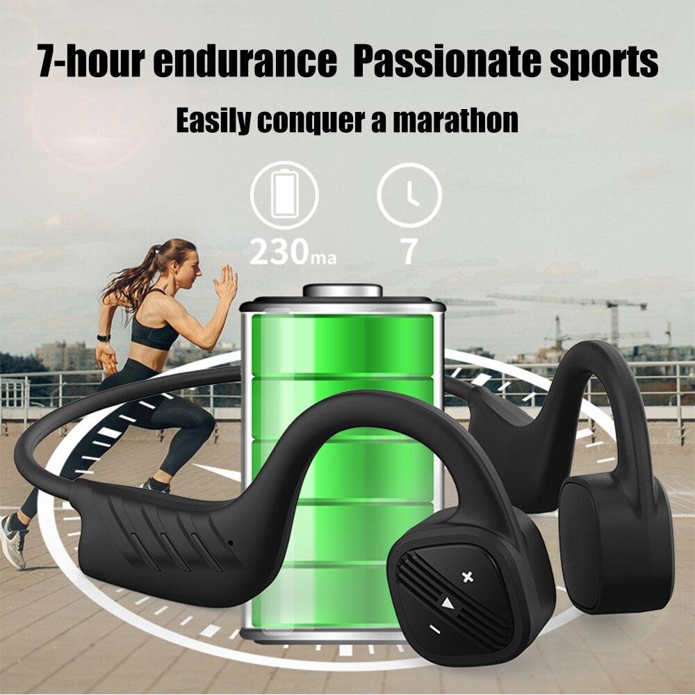 VIRWIR IPX8 Waterproof Bone Conduction Headphone Magnetic charging Bluetooth Wireless hands-free Headsets 2M Diving Headphones enlarge