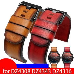 Retro Genuine Leather watchband 22mm 24mm 26mm 28mm wristwatches band for DZ4308 DZ4343 DZ4316 watch strap Quality watch band