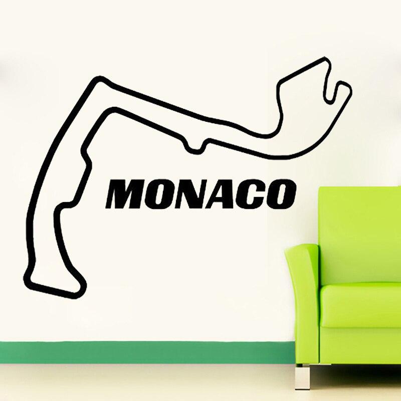 Monaco pista de corrida circuito adesivo parede arte decalques frança carro corrida decoração para casa sala estar quarto decoração