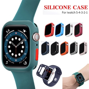 Soft Silicone Case for Apple Watch 3 2 1 42MM 38MM Cover Full Protection Shell for iWatch 4 5 40MM 44MM Watch Bumper