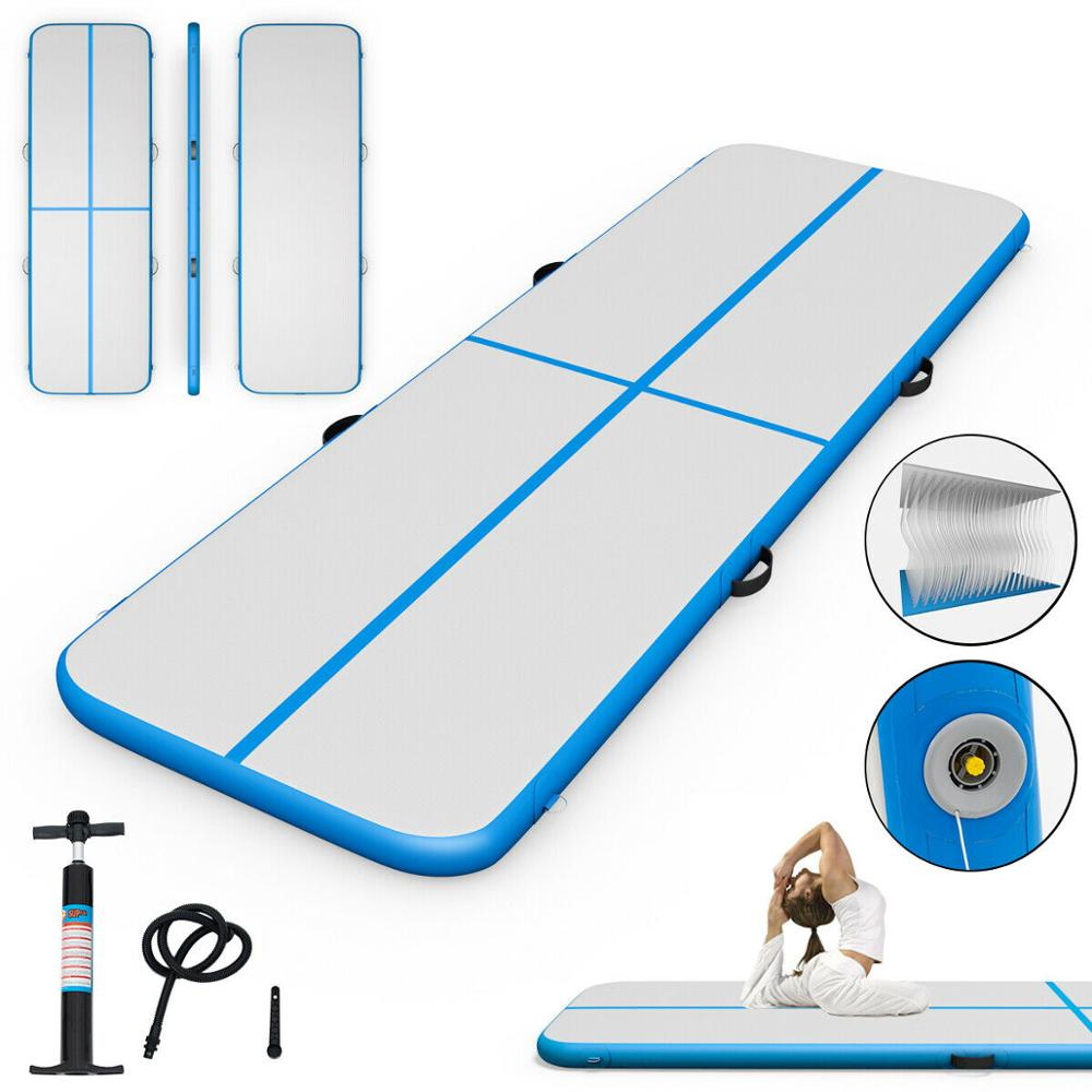 Envío Gratis 10ft inflable gimnasia Mat aire alfombras de piso de agua flotabilidad con bomba azul