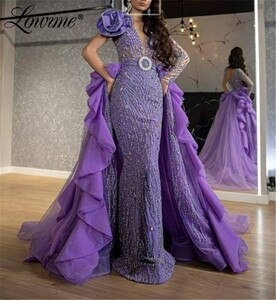 Dubai Purple Evening Dresses Formal Sparkly Glitter Crystals Celebrity Dresses Long Arabic Moroccan Kaftans Party Gowns 2020 New