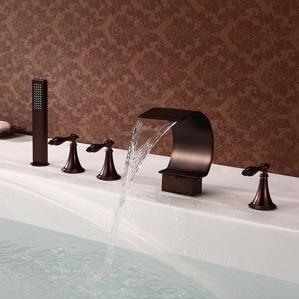 MTTUZK النفط يفرك البرونزية شلال واسعة النطاق صنبور حوض استحمام مع دش يدوي (تصميم شكل منحني) 5 حفرة صنبور حوض استحمام مجموعة 09