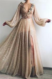 Сексуальное Формальное вечернее платье Шампань с разрезом и v-образным вырезом, ТРАПЕЦИЕВИДНОЕ вечернее платье из фатина в Дубае, с длинными рукавами, вечерние платья