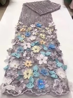 african lace fabric french 3d flower lace fabric embroidered with beads 2020 nigeria mesh tulle lace fabric z28731