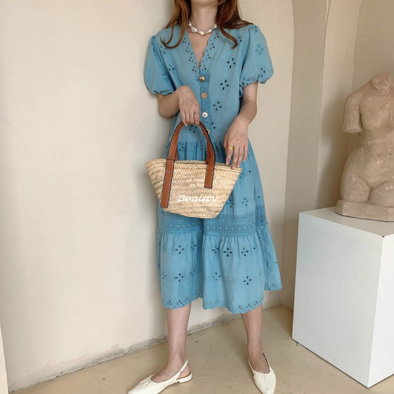 2020 Women Summer Elegant Blue V Neck Loose Long Shirt Dress Hollow Out Flower Lace Patchwork Midi Dresses