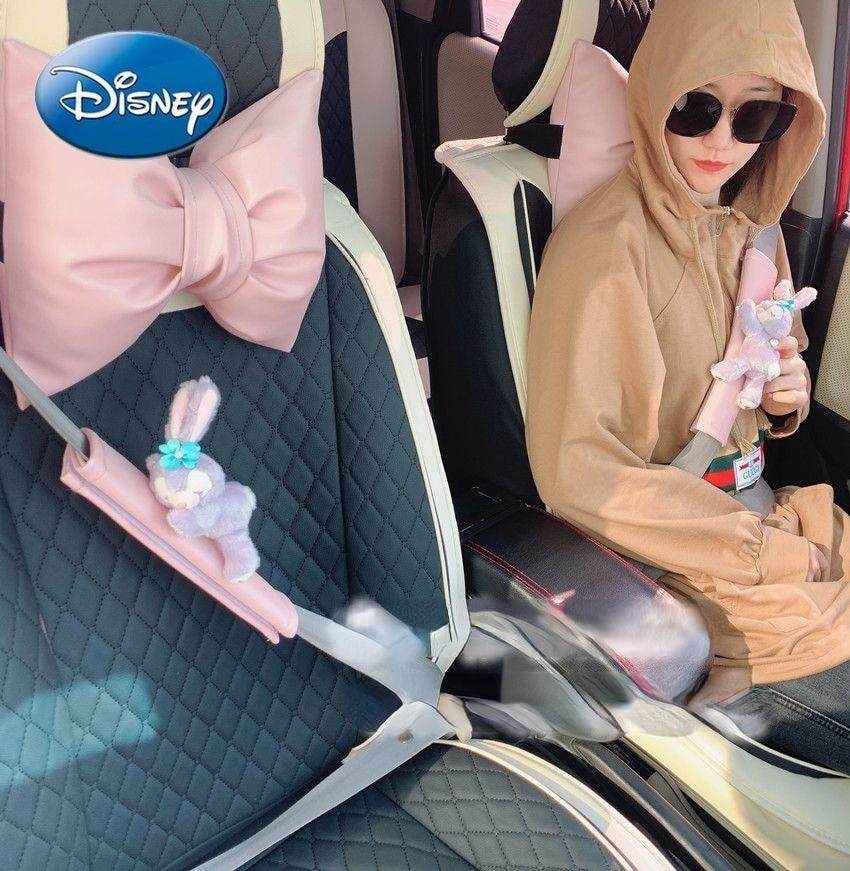 Disney Star Delu Chuangyi Car Interior Pink Seat Belt Shoulder Cover Summer Anti-stroke Protective Cover enlarge