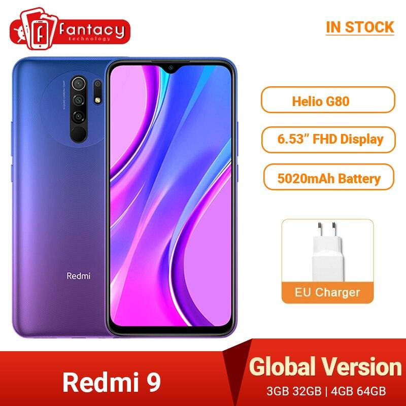 В наличии глобальная версия Xiaomi Redmi 9 мобильных телефонов Helio G80 4 Гб 64 Гб 6,53 дюйм FHD + безрамочный экран 13MP AI Quad камеры смартфона 5020 мАч