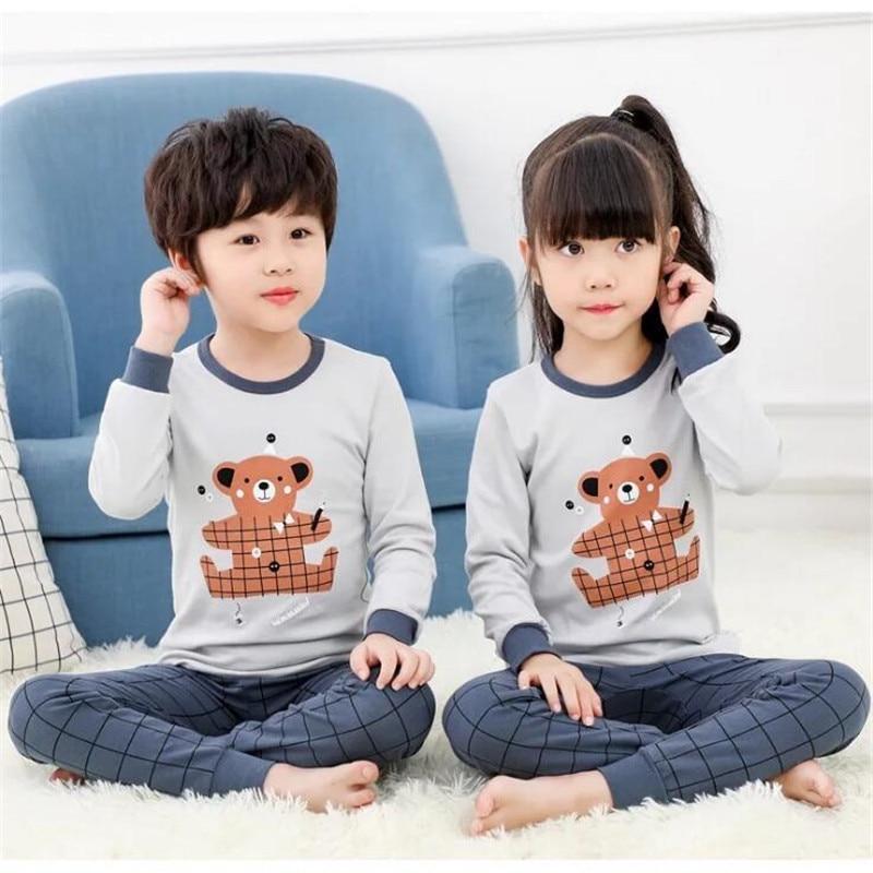 Crianças Pijamas de algodão Crianças Conjuntos de Pijama Meninos Meninas Completo Manga Pijamas Pijamas Do Bebê Menino Dos Desenhos Animados Homewear Roupas Da Família