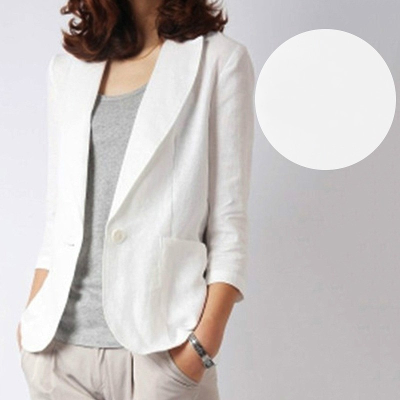 Linen Small Suit Jacket Women's Summer Thin 2020 New Korean-Style Casual Cotton and Linen White Blazer Women Blazers and Jackets