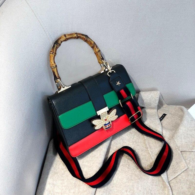 Handbags For Women High Sense of Wide Strap Women's Shoulder Bag New Style Bamboo Bag Women Fashion Bag Bee Bag Crossbody Bags