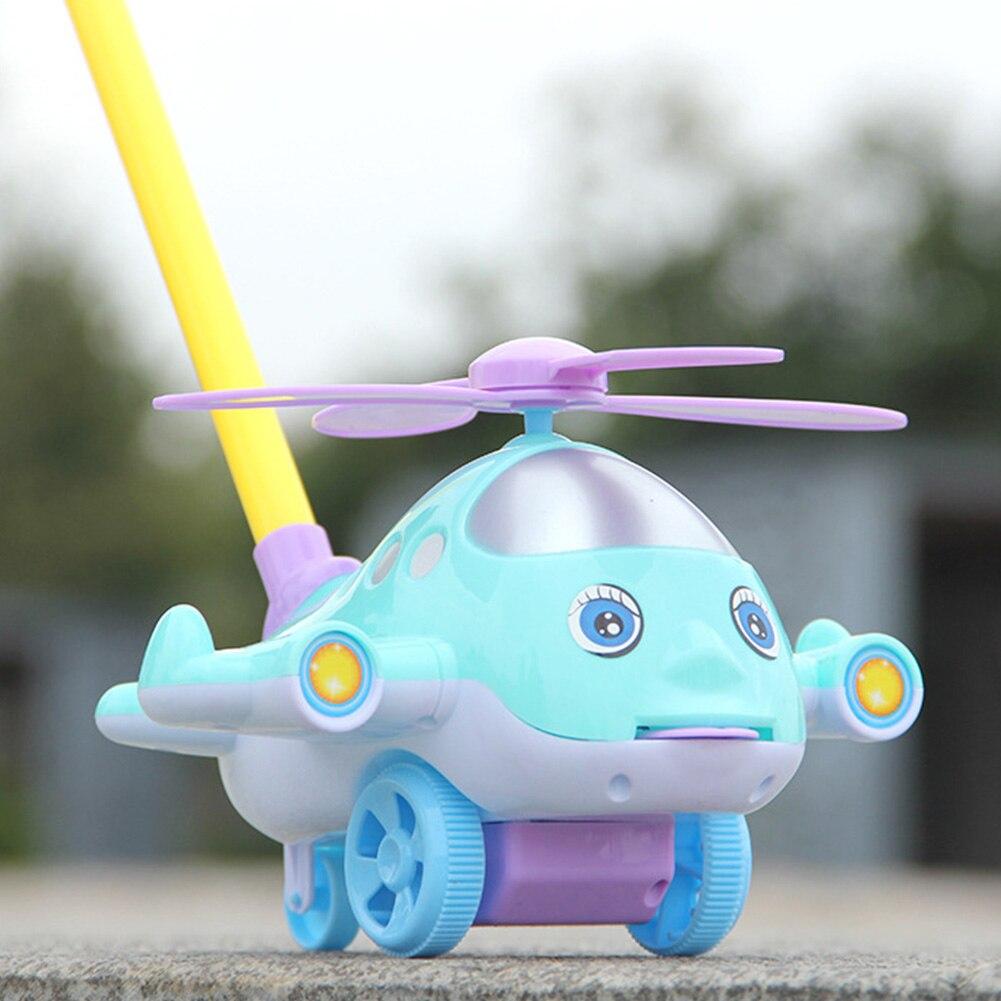 Juguete andador para bebé con sonido de dibujos animados avión mano empujar con campana educativo desmontable