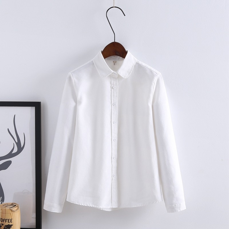 Autumn Summer Shirts New Fashion Lady Womens Long Sleeve Loose School Blouse Cotton Soft Casual Shirt Tops
