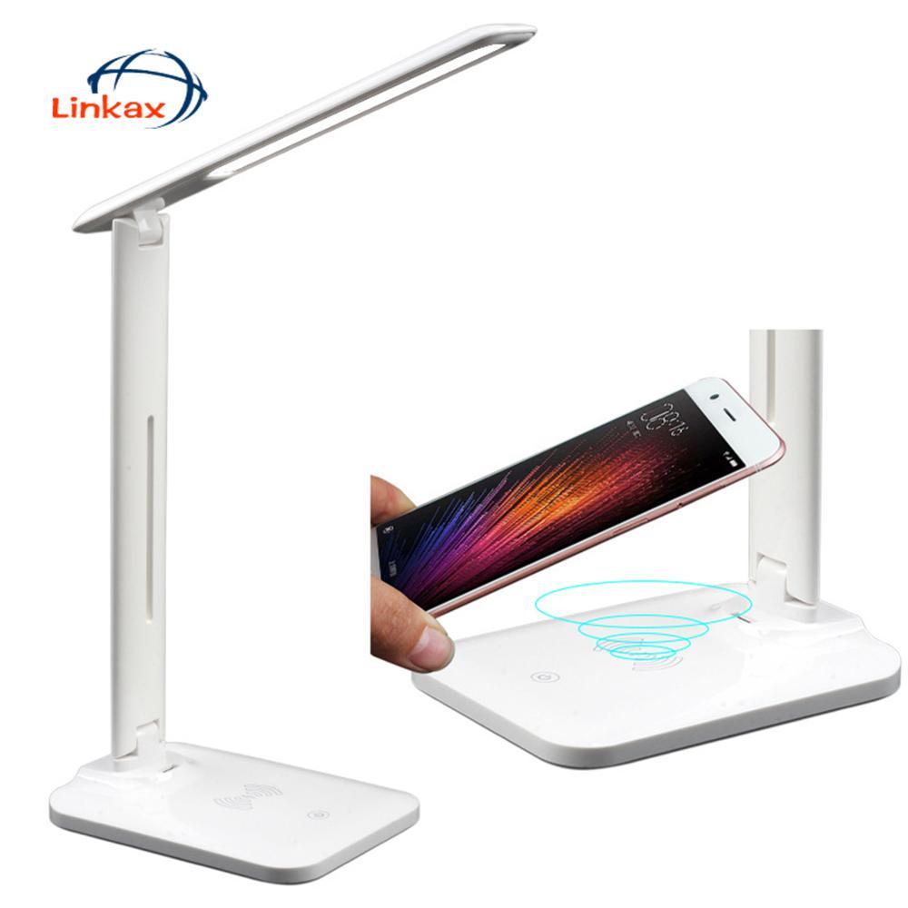 Lámpara led para mesa de escritorio de carga inalámbrica 28 LEDs Lámpara de lectura USB brillo ajustable protección de los ojos lámpara de mesa de atenuación continua