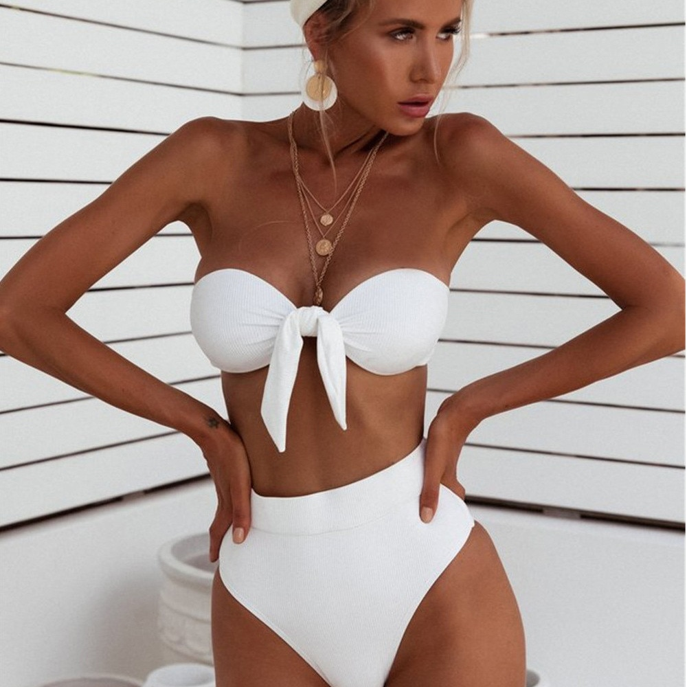 Sexy Solid Bikini 2021 Women Bowknot Swimsuit Female Low Waist Swimwear Women Beach Set Woman 2 Pieces  Bikinis sexy women swimsuit 2 pieces solid bikini swimwear