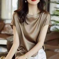 springsummer 2021 new short sleeved round necked top womens short t shirt loose acetate satin bottoms fashionable