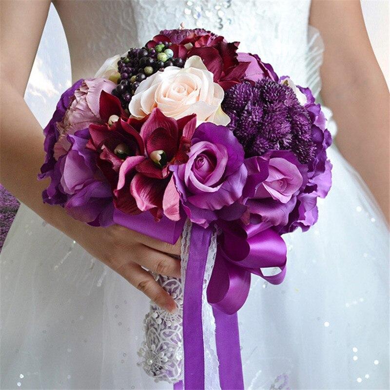 1 pieza púrpura boda novio novia seda peonía rosa con flores artificiales ramo decoración fiesta simulación flor falsa