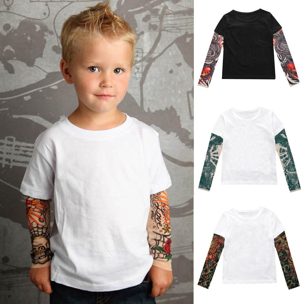 Children's T-Shirt Toddler Autumn Winter 2019 Baby Kids Boys Cute Parchwork T-Shirt Mesh Tattoo Printed Tops Camiseta infatil