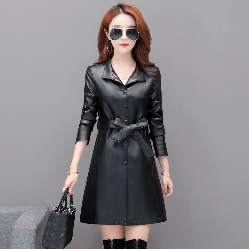 New Womens Black Elegant Soft PU Leather Long Jackets With Belt Ladies  Faux Sheepskin Trench Coat  Plus Size Female Outerwear enlarge