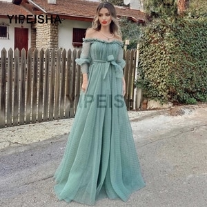 Turquoise Polka-Dot Evening Dress A-Line Boat Neck Off Shoulder Bow Ruffles Tulle Backless Floor Length Court Train Prom Gown