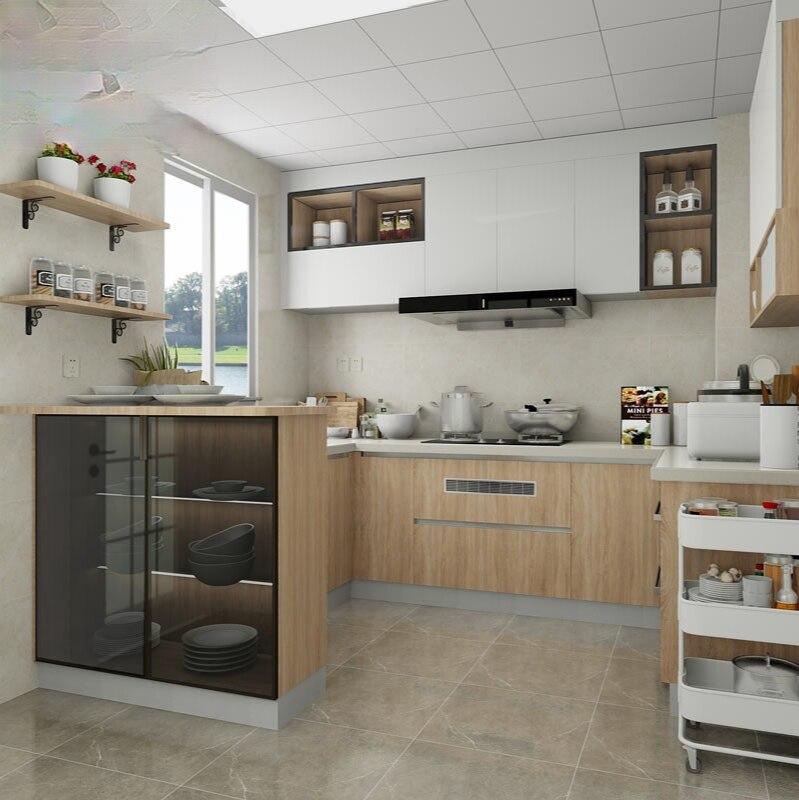 خزانة مخصصة مخصصة للمطبخ خزانة متكاملة باب الكوارتز حجر كونترتوب الحديثة بسيطة خزانة U-شكل