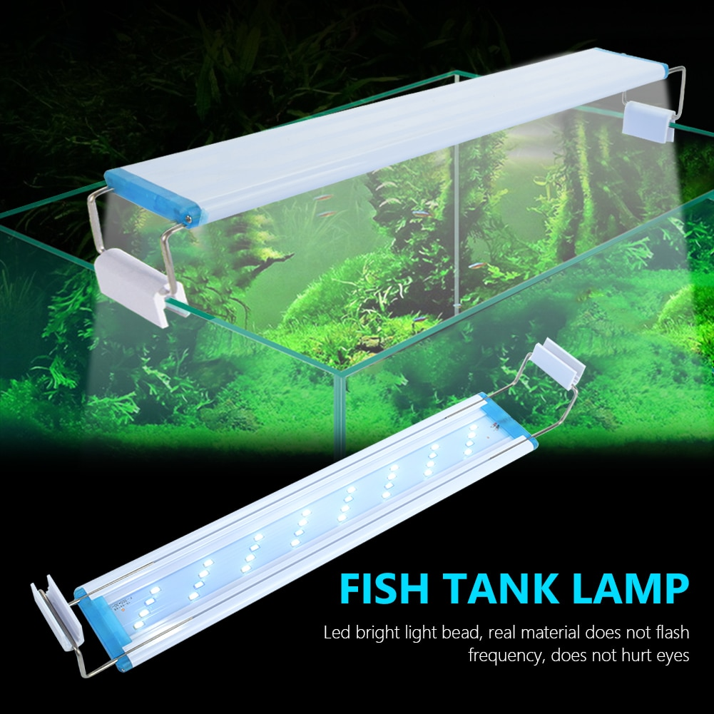Aquarium LED Light Super Slim Fish Tank Aquatic Plant Grow Lighting Waterproof Bright Lamp Blue LED 18-70cm for Plants 90-260V