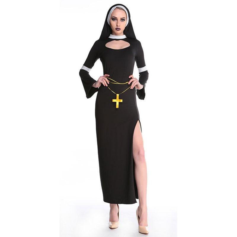 Umorden هالوين ازياء للنساء راهبة زي فانتازيا الكبار تأثيري الملابس فستان الحجاب الصليب
