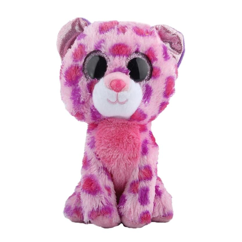 New 6 15cm Ty Big Glitter Eyes Glamour the Leopard Pink Plush Stuffed Animal Collectible Toy Christmas Gift For Boys Girls new 6 15cm ty kipper the kangaroo plush stuffed animal collectible soft big eyes doll toy christmas gift