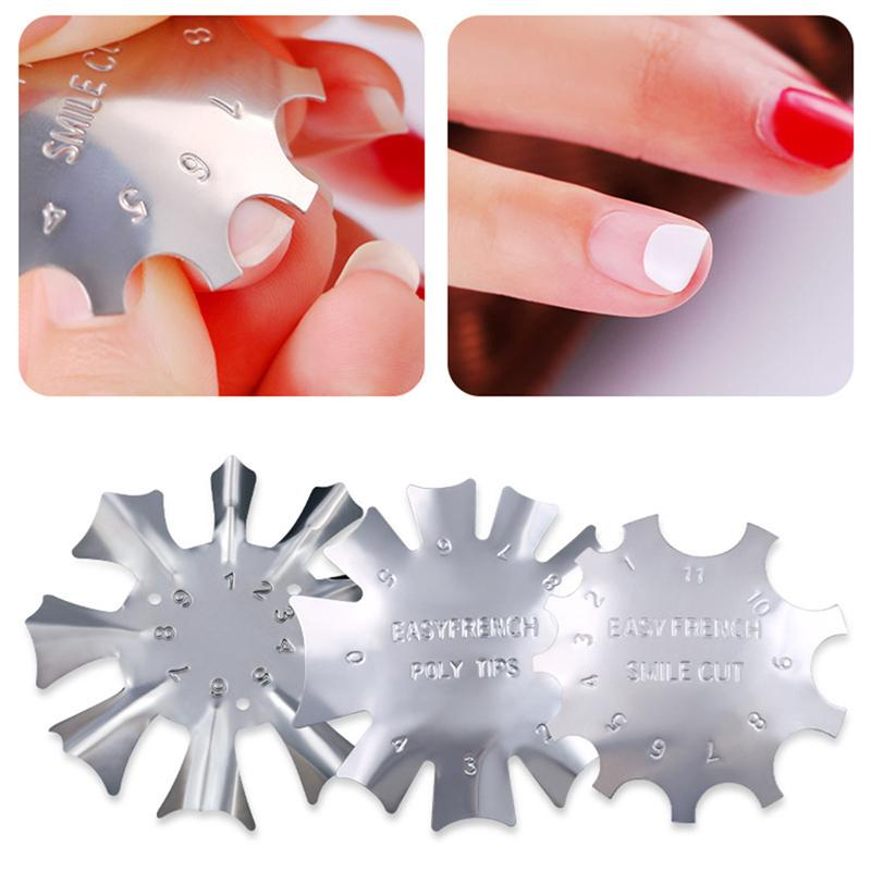 6 pçs molde de moldes de unhas placa de unhas diy aço inoxidável francês manicure fingernail que faz o modelo (a, b, c, d, e, f estilos)