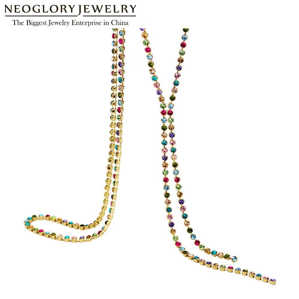 Neogory Austrain cristal de colores de cadena larga collares de borla para mujeres chica joyería de moda regalos 2020 Colf