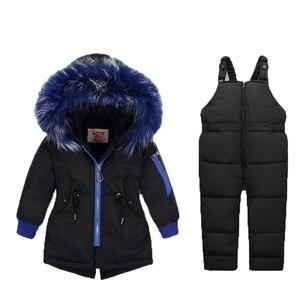 -30 degrees winter Baby jumpsuit for children boys down jacket 2pcs set coat for girl warm children's clothing Infant snowsuit