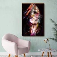 abstract woman face graffiti street art oil painting canvas poster prints popular wall living room home decoration watercolor