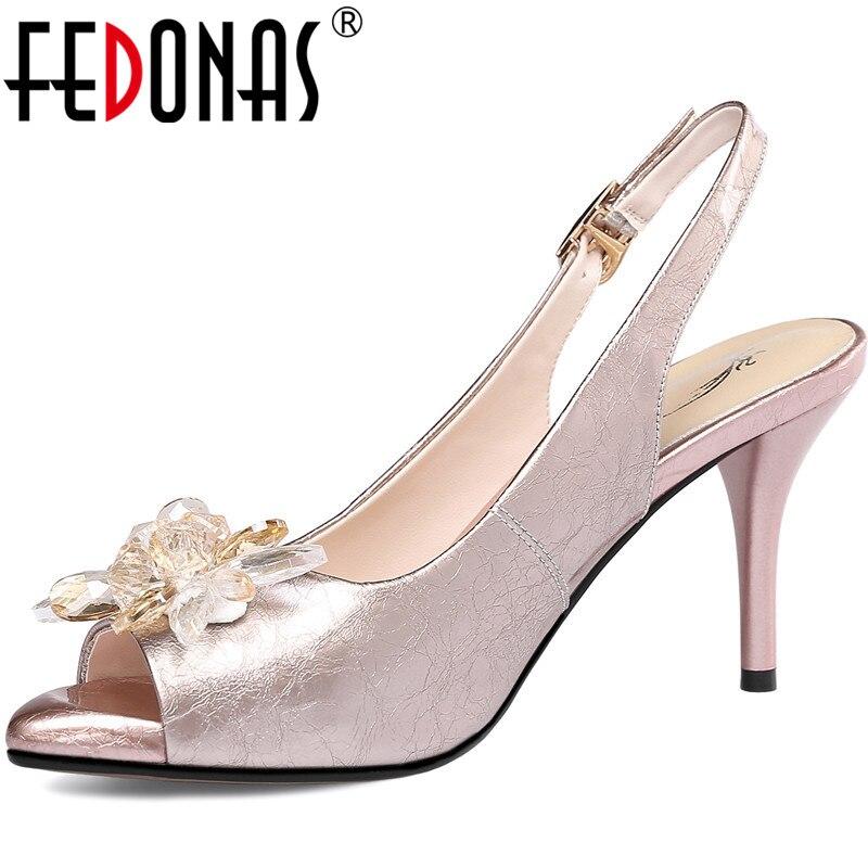 ¡Novedad del 2020! Sandalias de piel auténtica de FEDONAS, zapatos de tacón alto con punta abierta, zapatos Retro de cristal para Club nocturno o boda para mujer