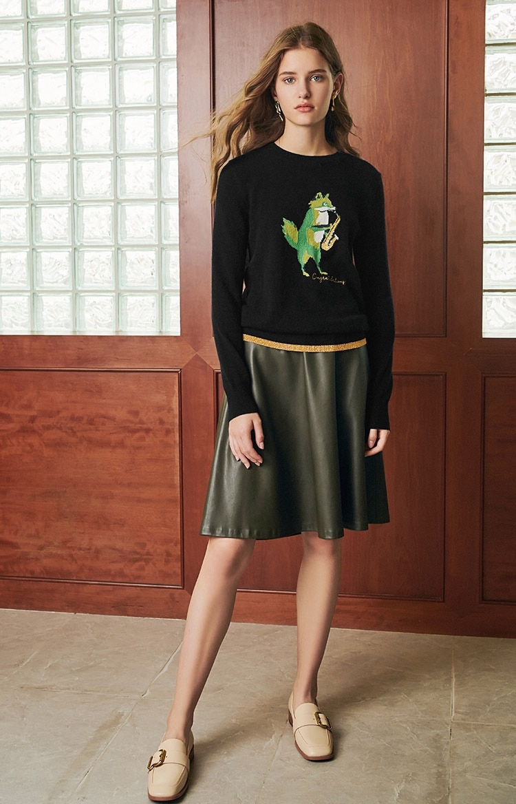 New round Neck Cashmere Sweater Cartoon Pattern Pullover Female enlarge