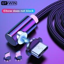 Câble Micro USB magnétique GTWIN 90 degrés pour iPhone 7 aimant USB C coude de charge pour Huawei Type C chargeur de téléphone portable Android