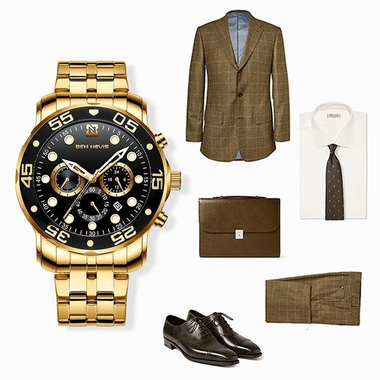 Самые продаваемые золотые кварцевые часы Amazon, многофункциональные модные светящиеся мужские часы с 3 глазами и 6 контактами
