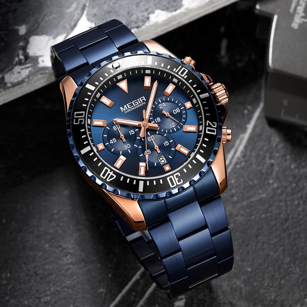 MEGIR Luxury Brand Men's Watches Blue Stainless Steel Band Business Quartz Watch Men Chronograph Army Military Wrist Watch Man