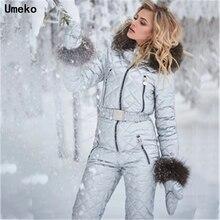 Umeko hiver combinaisons à capuche Parka élégant coton rembourré chaud ceintures Ski costume droit fermeture éclair une pièce femmes survêtements décontracté