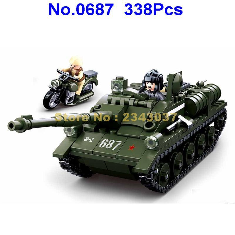 sluban 0687 338pcs military ww2 world war 2 su85 tank building blocks Toy