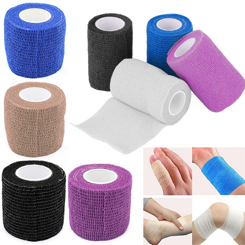 Colorido 3 tamanho auto adesivo elástico bandagem colorido esporte fita elastoplast emergência muscular fita de primeiros socorros ferramenta joelho apoio