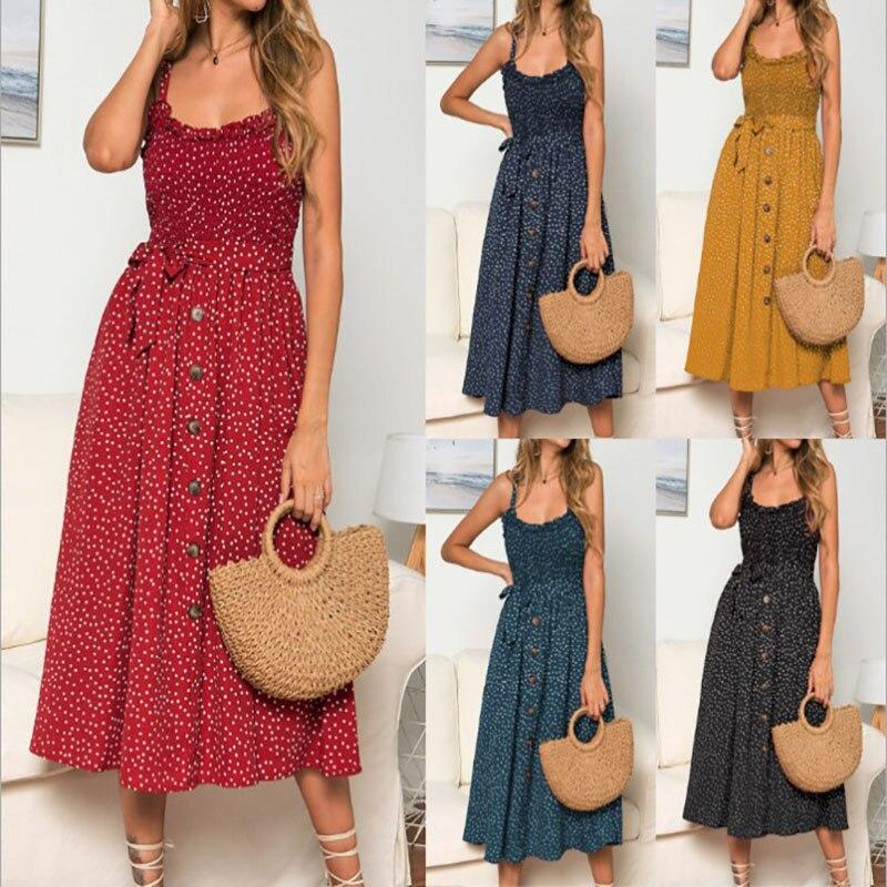 Venda quente venda quente nova cinta feminina flounded polkadot vestido impresso praia boêmio vestido longo vestidos