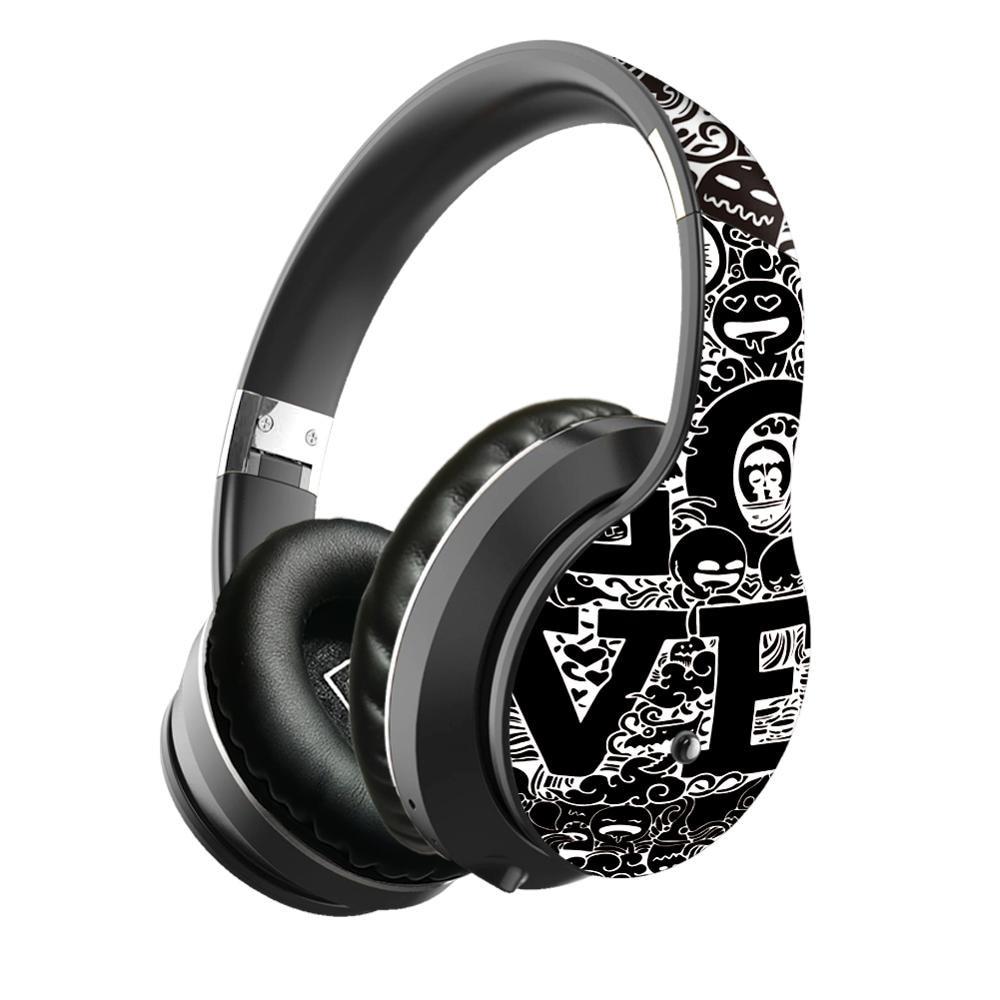 Wireless Headphones Bluetooth Graffiti Headphones With Microphone PC Mobile Phone Stereo HIFI Sound for TF Card FM Radio