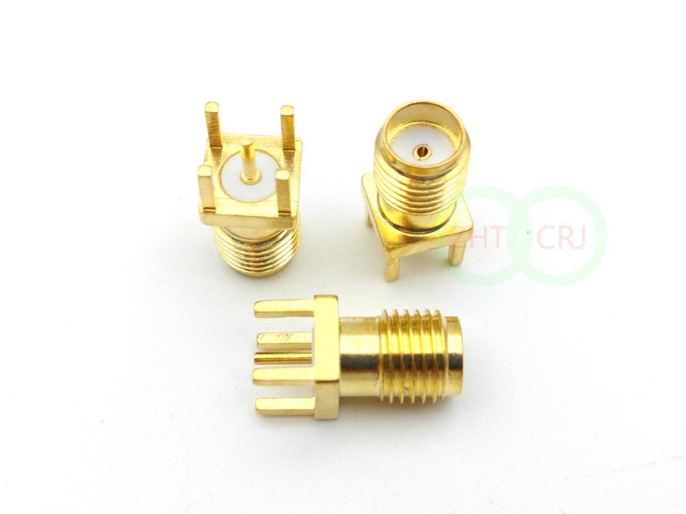 مقبس أنثى SMA ذهبي 1000 قطعة ، محول لوحة تثبيت PCB ، لحام مستقيم RF Coax