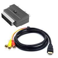 Черный с переходником SCART на 3 RCA Phono 1080p HDMI-совместимый с S-video на 3 RCA AV аудиокабель для проектора/DVD/TV аудиоразъем