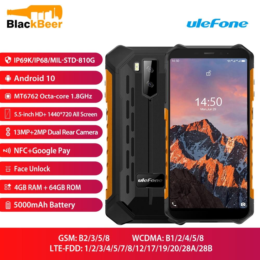 Перейти на Алиэкспресс и купить Ulefone Armor X5 Pro прочный мобильный телефон IP68/IP69K Водонепроницаемый 4 Гб 64 ГБ Android 10,0 смартфон с восьмиядерным процессором NFC 5000 мАч